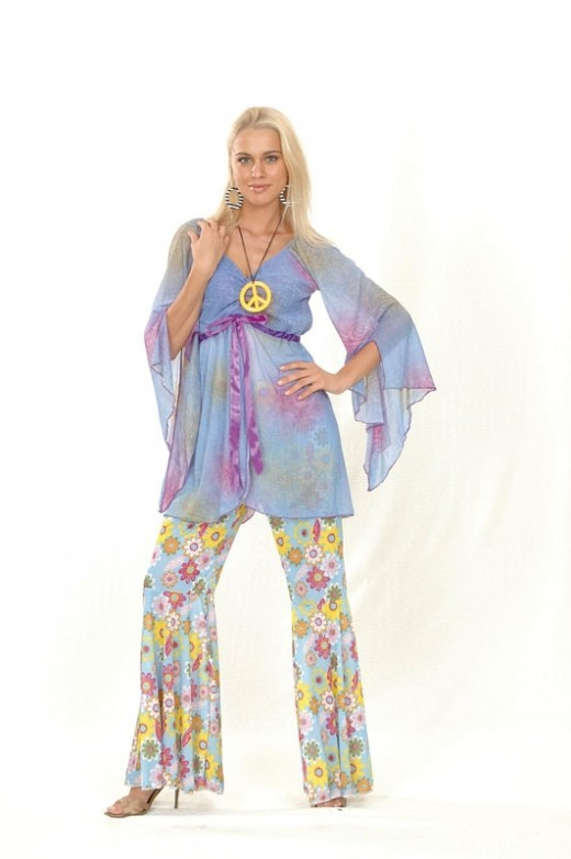 Ladies Lilac Hippy Costume - Very flexible for sizing