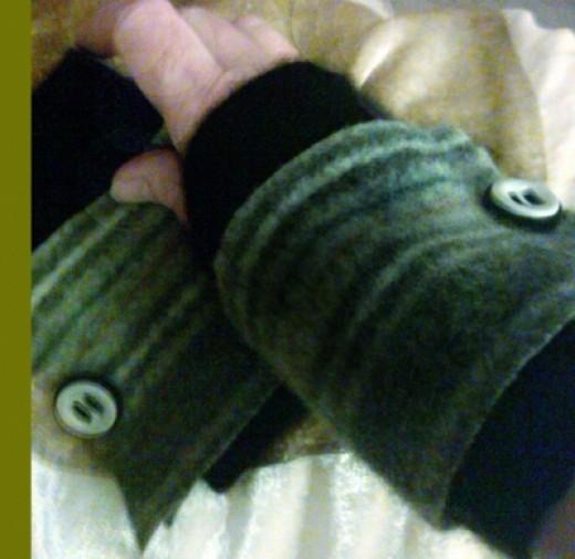 "Arm Warmer ""cuffs"" on my hand."