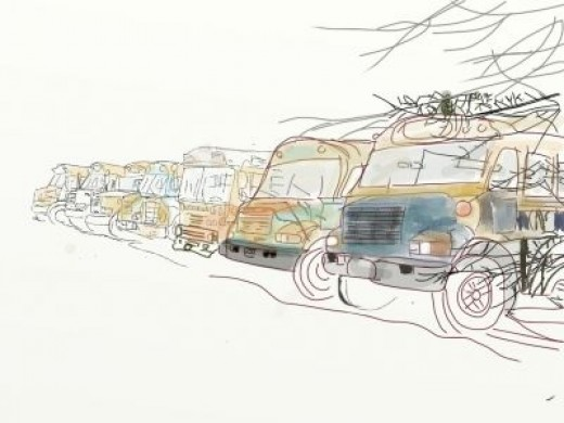 iPad APP ArtRage Painting of School Buses