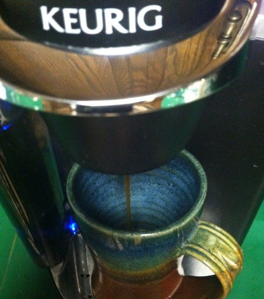 There it is freshly brewed hot and ready Keurig coffee.  Sit and enjoy.