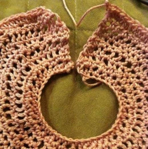 Beginning of a pink dress using the same pattern as the Christening dress.