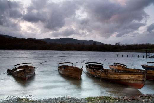 Twilight on Derwent Water, English Lake District.
