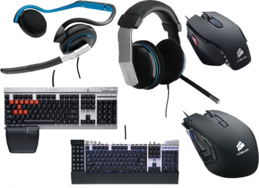 Gaming mouse, keyboard, headphones and mousepads