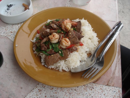 Liver, Prawns and Rice. 35 Baht