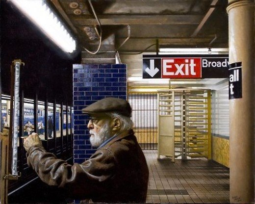 """Self Portrait - Wall St. Station""   Oil on linen 40"" x 50"""