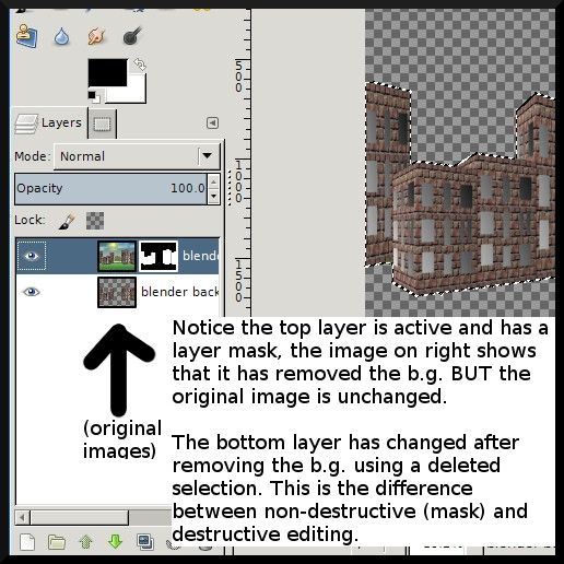 Top Layer has a Layer Mask - Non Destructive Bottom Layer B.G was deleted - Destructive