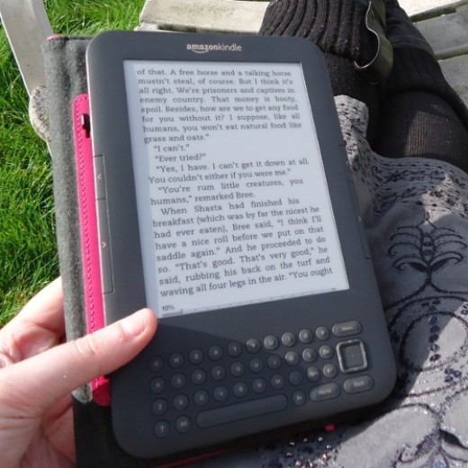 Author's Kindle 3 or Keyboard device which she still likes to use
