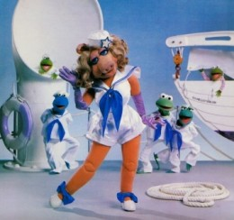 Miss Piggy modeling in the Navy.
