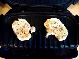 Chicken only takes minutes to cook and the grill cuts the fat, as it all drains down into the tray that you place underneath at the front.