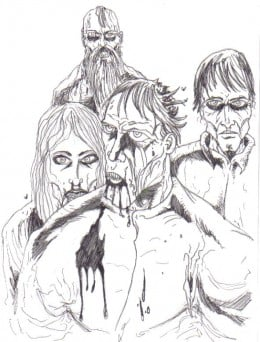 A gathering of zombies rotting about the place.