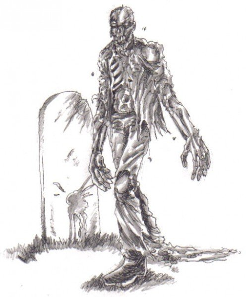 Shading of the zombie art, with added rotten filth.
