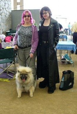 Wolfgang at this first dog show.  Clockwise: My mom, me, and Wolfgang.