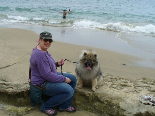 "My mom and Wolfgang at the beach.  Wolfgang looooooooooooooooooooves the beach.  My mom calls it ""the big water.""  Whenever she says ""the big water,"" Wolfgang gets excited."
