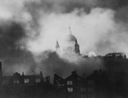 St. Paul's Cathedral during a the German bombing of London. US National Archives