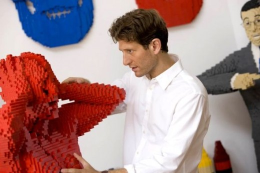 Nathan Sawaya in his studio