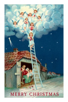 Angels Descending to Nativity Scene by AllPosters.com