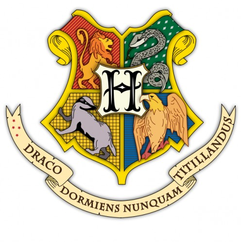 The Hogwarts School coat of arms featuring the four Houses and their colors (Clockwise from top left: Gryffindor with scarlet and gold, Slytherin with green and silver, Hufflepuff with canary yellow and black, and Ravenclaw with blue and bronze)