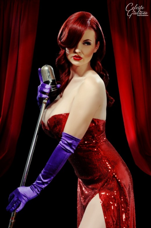 A sultry Jessica Rabbit Halloween costume.