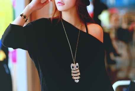 owl necklace girl