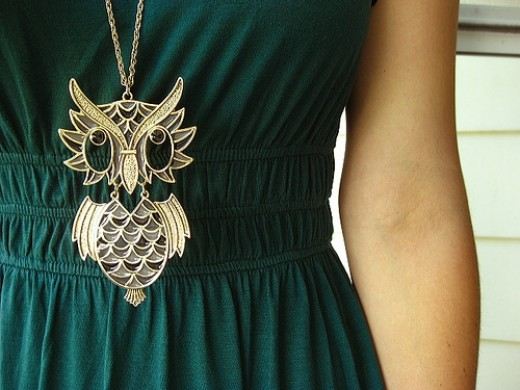 vintage owl necklace picture