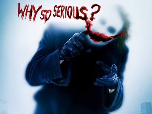 "Why so serious by joker in the movie ""The Dark Knight"""