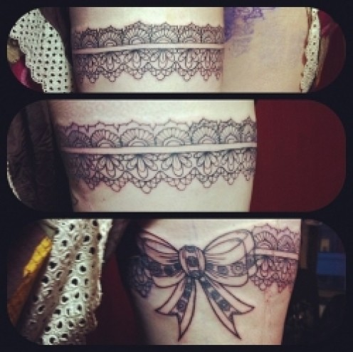 Thigh Garter Tattoos for Girls