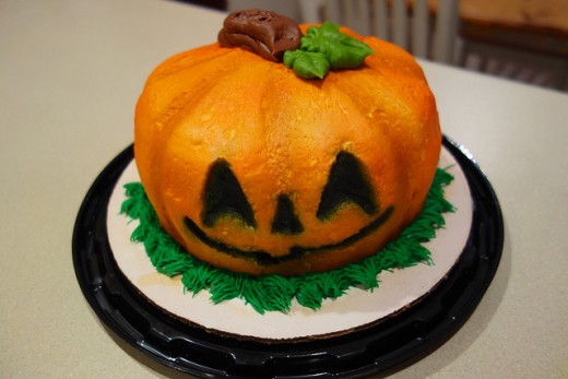 Orange, pumpkin cake for Halloween