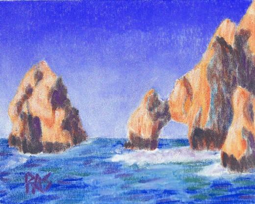 """Cabo San Lucas, pastel, 9"""" x 12"""" by Robert A. Sloan."""
