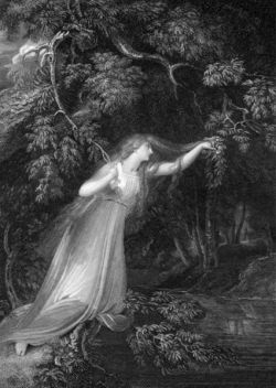 A black and white image of Shakespeare's Ophelia