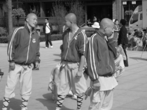 Shaolin monks getting ready for a performance.