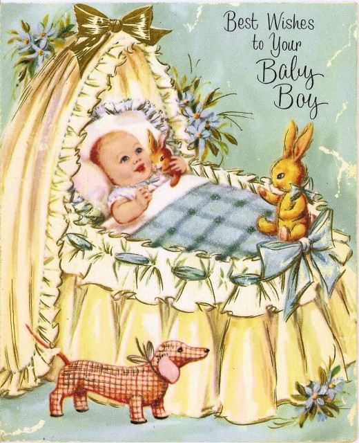 1960s blue greeting card new baby boy birth