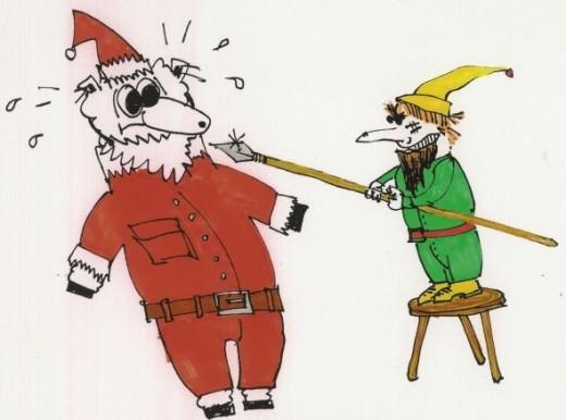 Sheep impersonates Santa