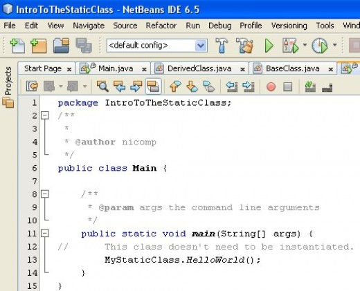 Figure 02 - The static class is referenced from the main()