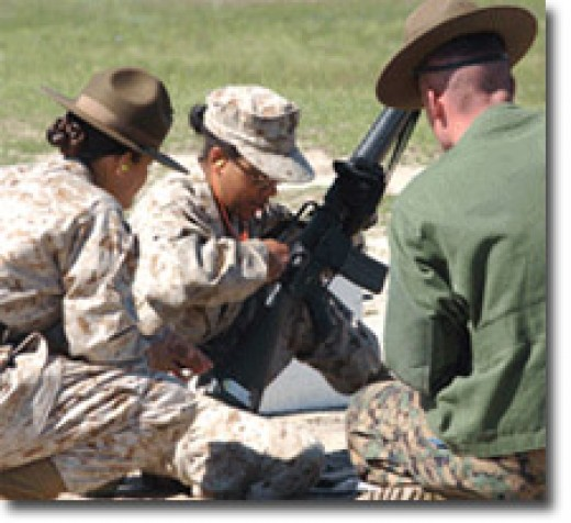 Marine Recruits Getting to know their weapon - the M16A2/A4