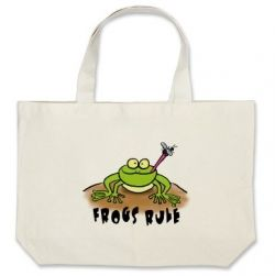 Frogs Rule printed bag.