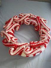 Crochet Candy Cane Wreath