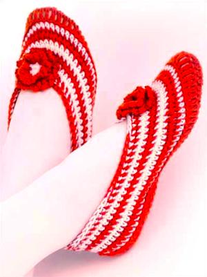 Striped slippers Free crochet pattern