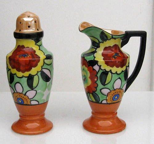 Noritake Art Deco Creamer and Sugar Shaker