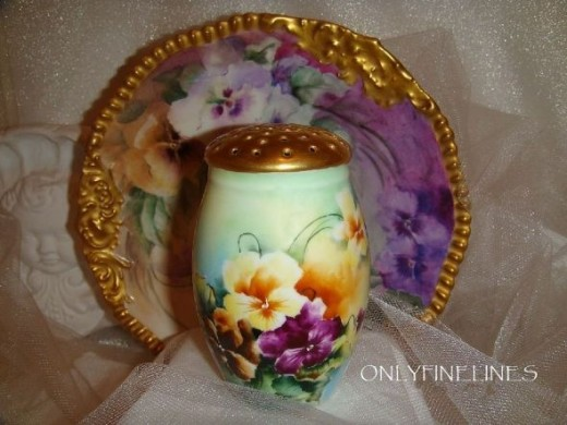 Porcelain Muffineer with Hand Painted Pansies