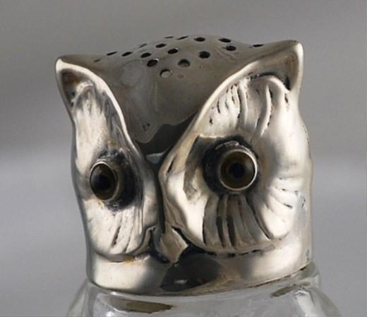 Owl Sugar Shaker - Glass & Silver - c1910