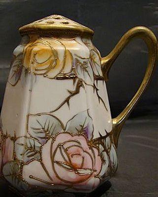 Nippon cinnamon or sugar shaker gold beading roses