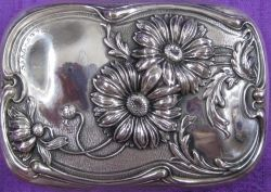 Sterling Silver Soap Box with Repousse Art Nouveau Daisies