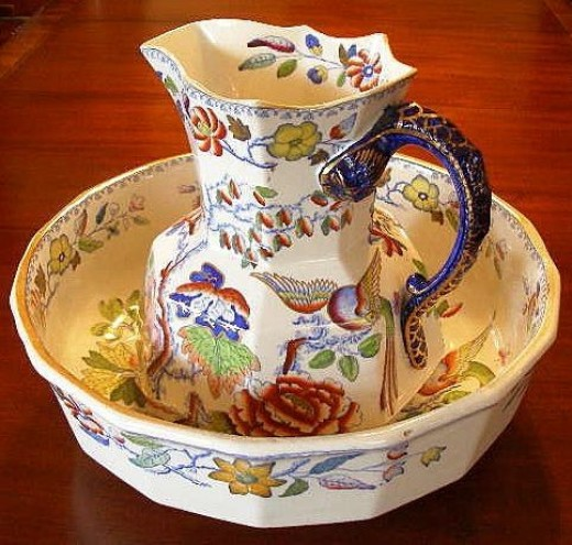"Masons Ironstone Hydra Jug and Basin Set in the ""Flying Bird"" Pattern C. Mid 19th Century"