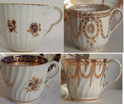 Worcester & Caughley cups, ear-shape handles C1780 & 1790. Spiral fluted cups C1790 & C1767-70