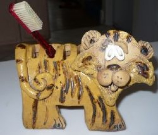 Mid Century Pottery Tiger Toothbrush Holder