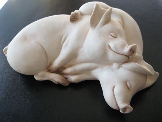 Ebling & Reuss- Bisque pigs figure