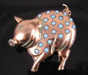 Nettie Rosenstein Sterling with Faux Turquoise Pig Fur Clip