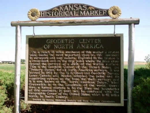 Roadside marker of  the Geodetic Center of the United States