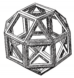 Illustration of a rhombicuboctahedron by Leonardo da Vinci, which appeared in Pacioli's book De Divina Proportione (1509)