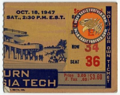 1947 Auburn-Georgia Tech Football Ticket Stub